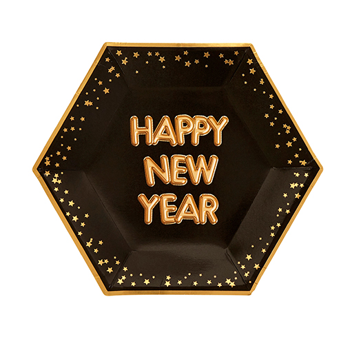 Glitz & Glamour Black & Gold Plate - Large - Happy New Year