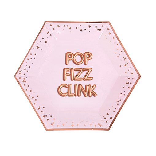 Glitz & Glamour Pink & Rose Gold Plate - Large - Pop Fizz Clink