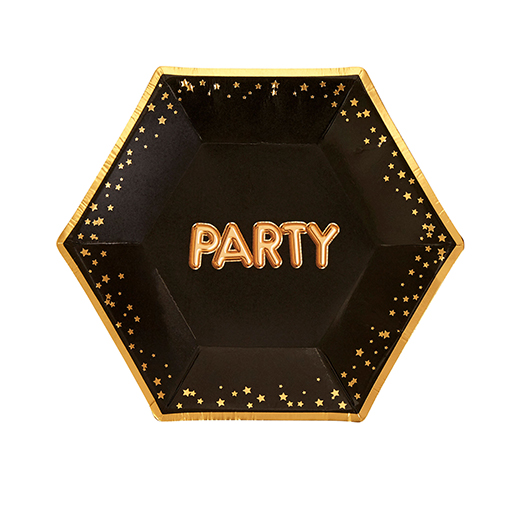 Glitz & Glamour Black & Gold Plate - Medium - Party