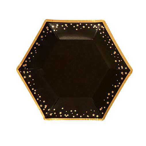 Glitz & Glamour Black & Gold Plate - Medium - Stars