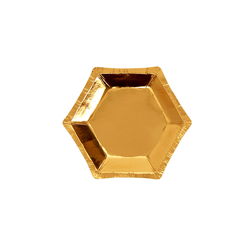 Hexagonal Gold Foil Plate - Small