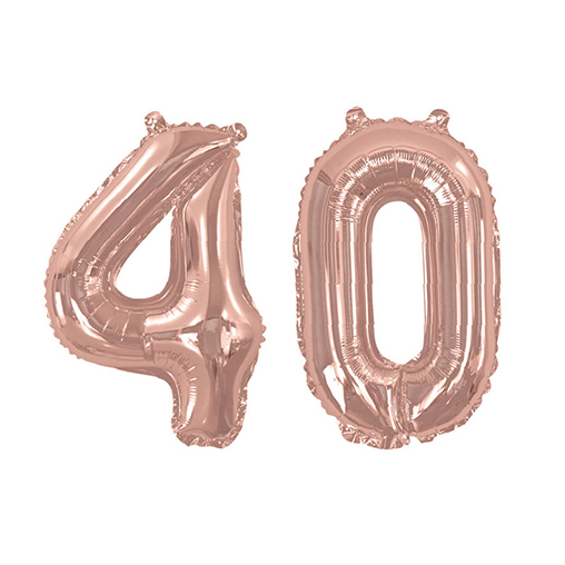 Rose Gold Foil Balloons - Number 40