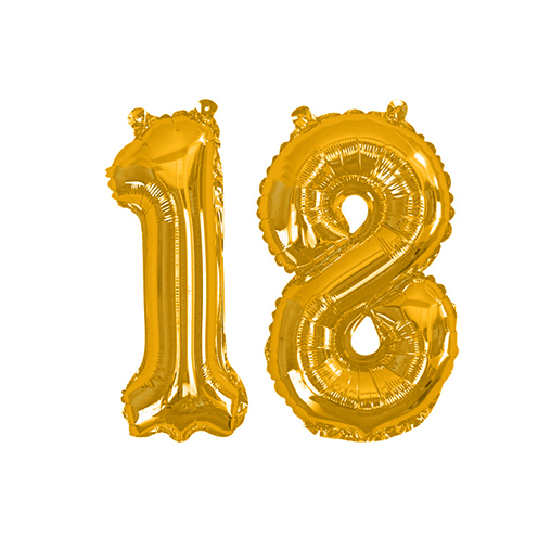 Gold Foil Balloons - Number 18