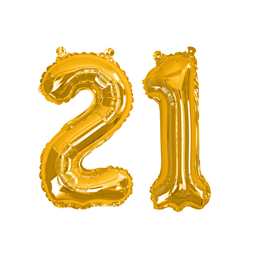 Gold Foil Balloons - Number 21