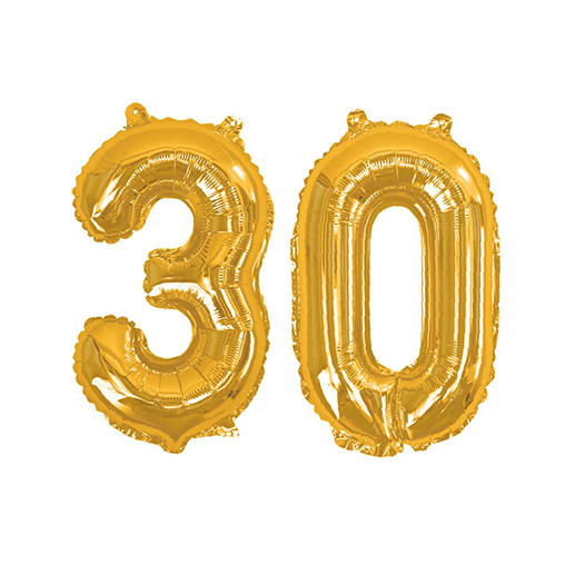 Gold Foil Balloons - Number 30