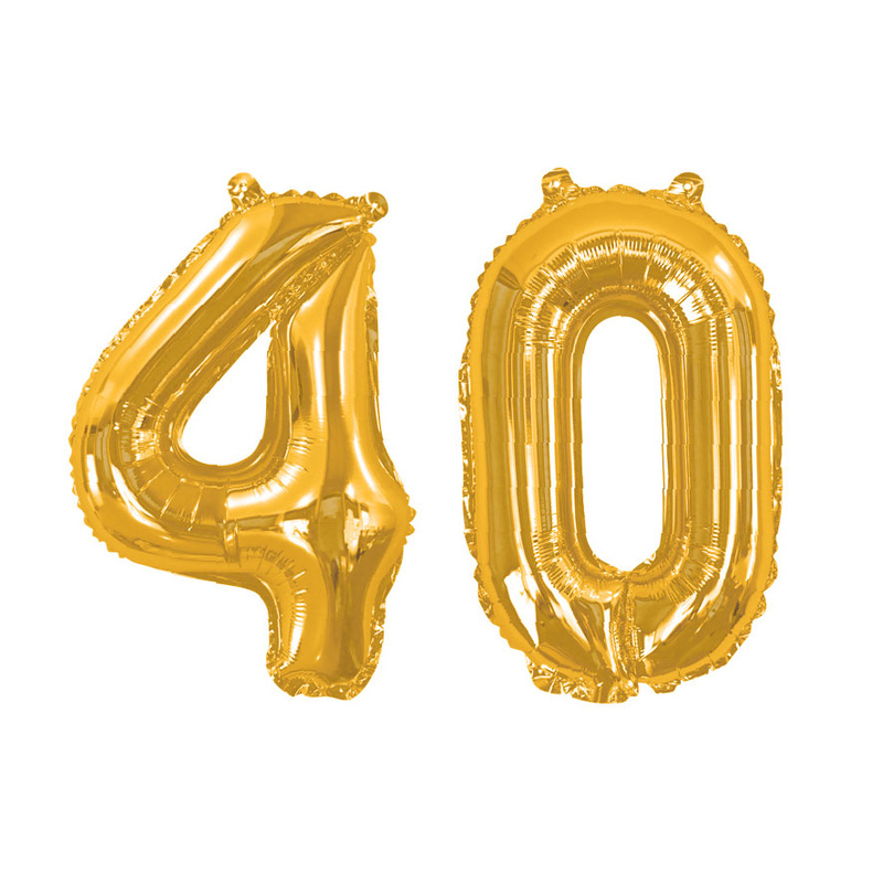 Gold Foil Balloons - Number 40