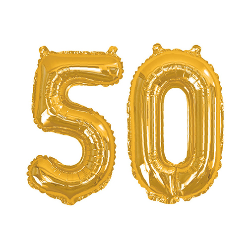 Gold Foil Balloons - Number 50