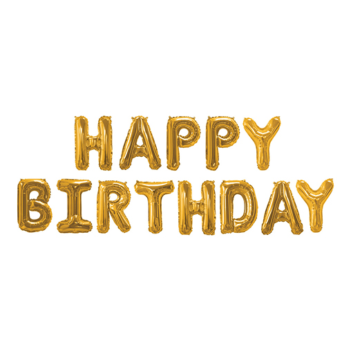 Gold Foil Balloons - Happy Birthday