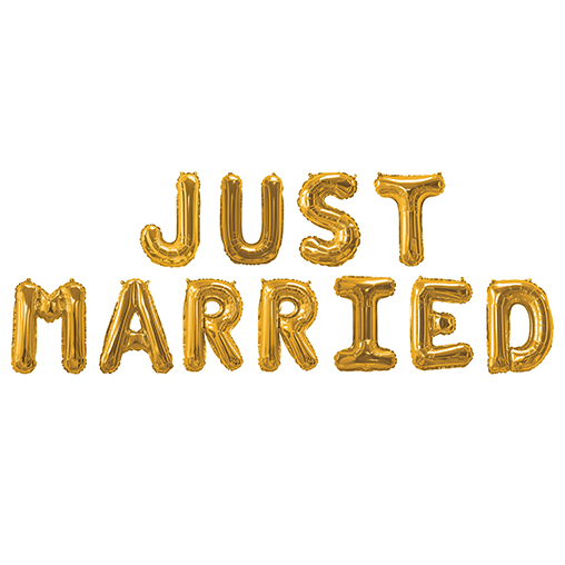 Gold Foil Balloons - Just Married