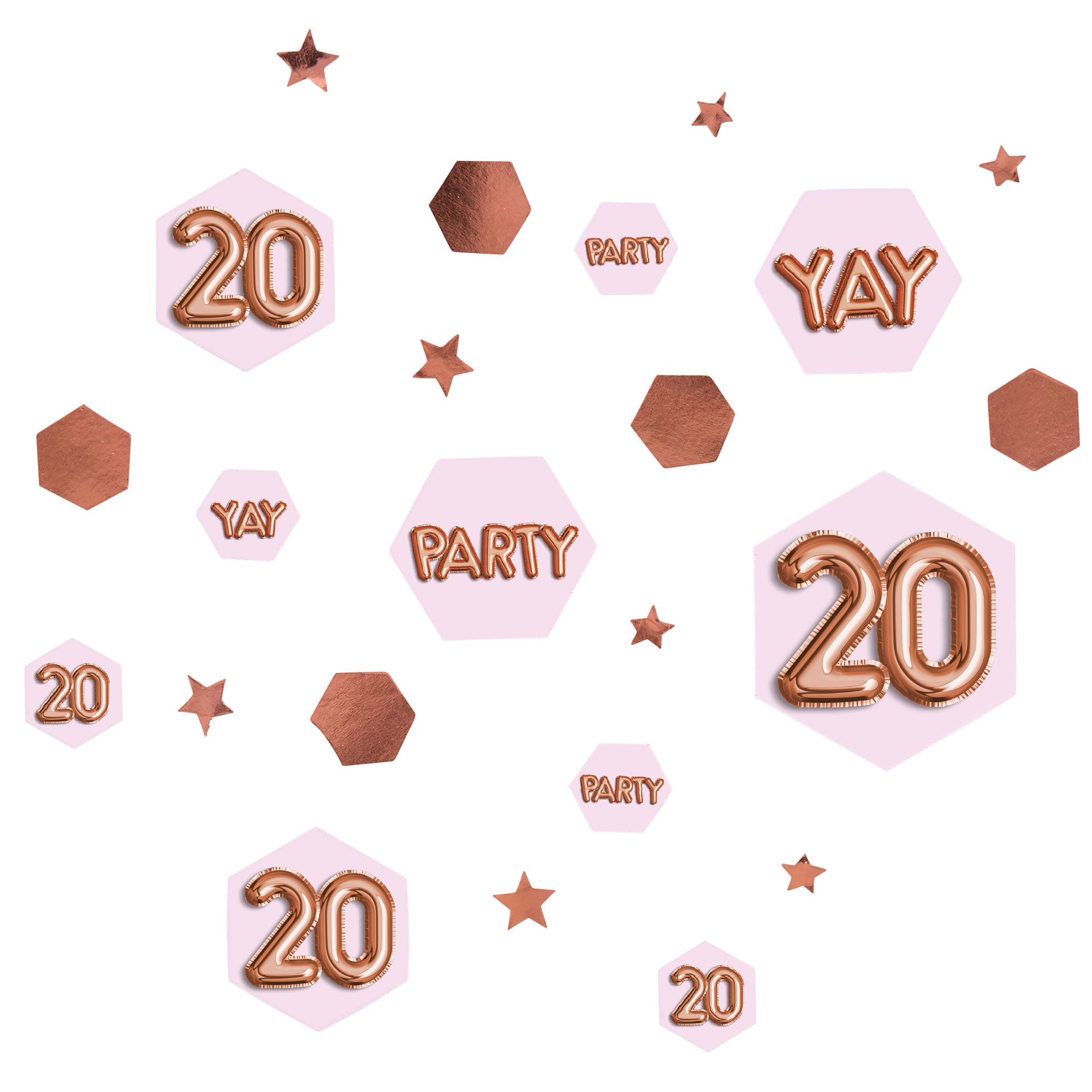 Glitz & Glamour Pink & Rose Gold Confetti Scatter - Age 20