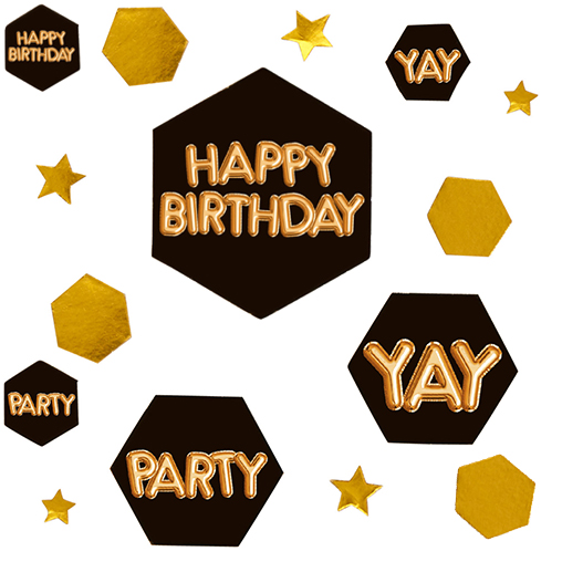 Glitz & Glamour Black & Gold Confetti Scatter - Happy Birthday