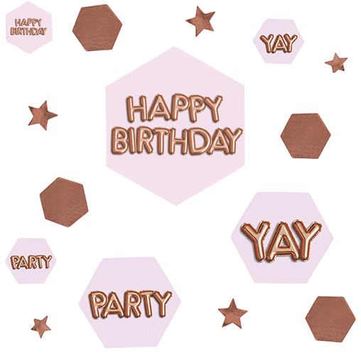 Glitz & Glamour Pink & Rose Gold Confetti Scatter - Happy Birthday