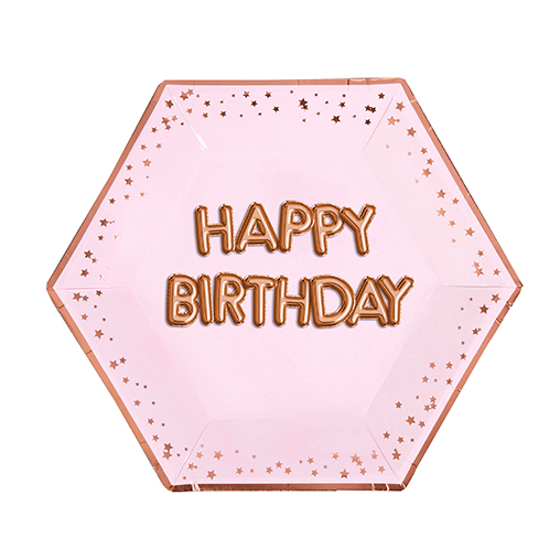 Glitz & Glamour Pink & Rose Gold Plate Large - Happy Birthday