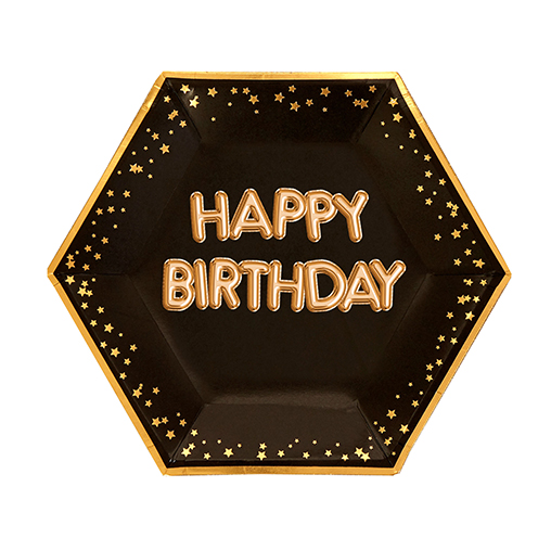 Glitz & Glamour Black & Gold Plate - Large Happy Birthday