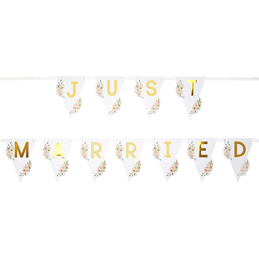 Geo Floral - Just Married Car Bunting