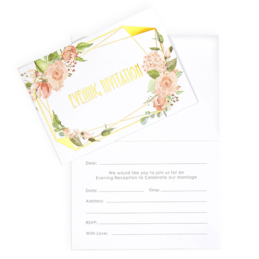 Geo Floral - Evening Wedding Invitations