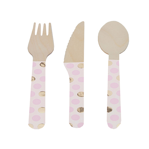 Pattern Works Wooden Cutlery - Pink Dots