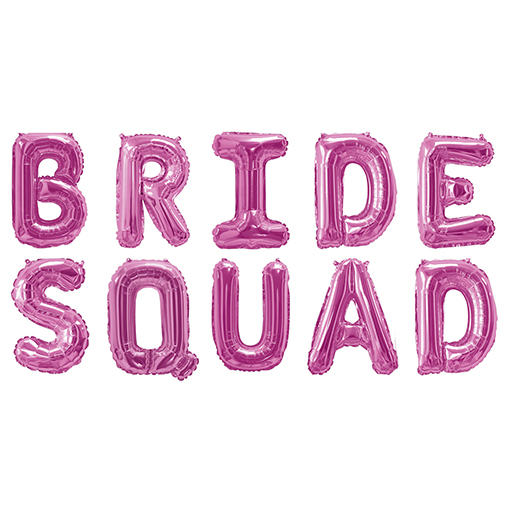 Foil Balloon Bunting - Bride Squad - Pink