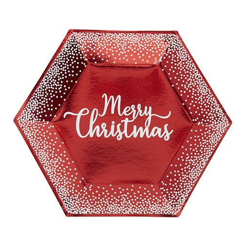 Merry Christmas Red & White Dots Plate - Large