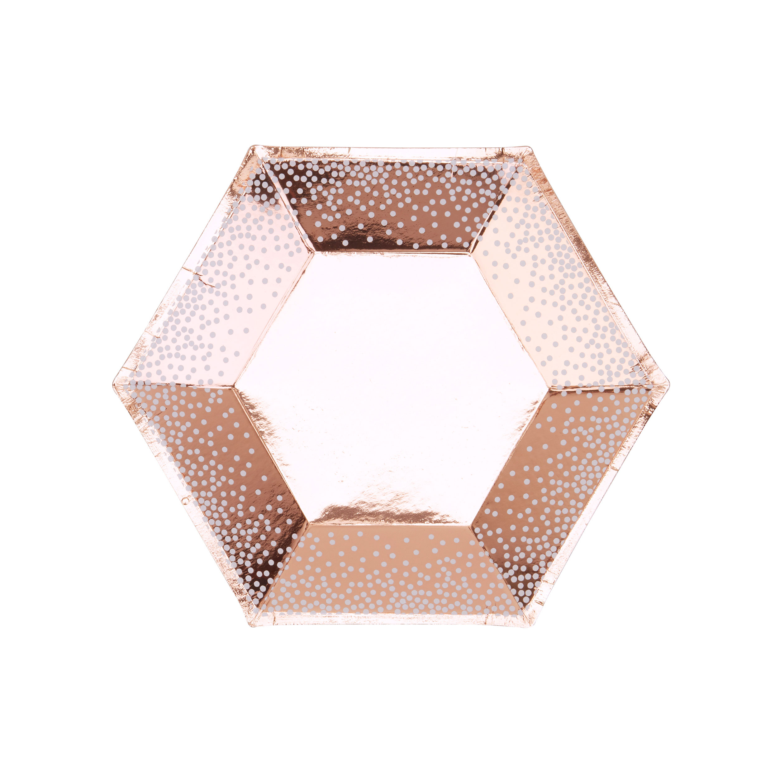 Rose Gold & White Dots Plate - Medium