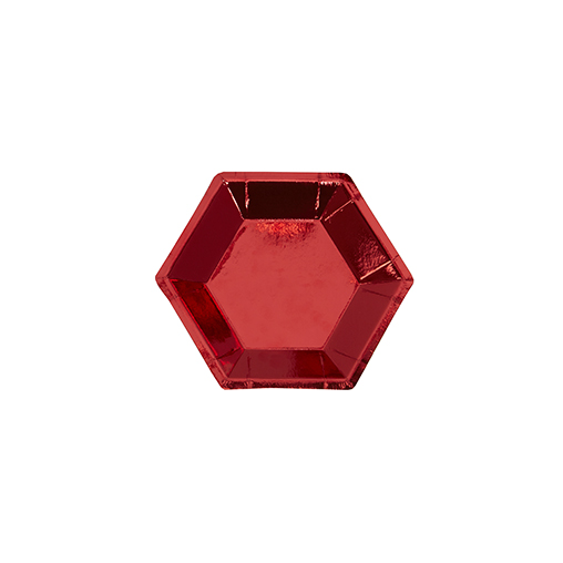 Small Hexagonal Plate - Red Foil