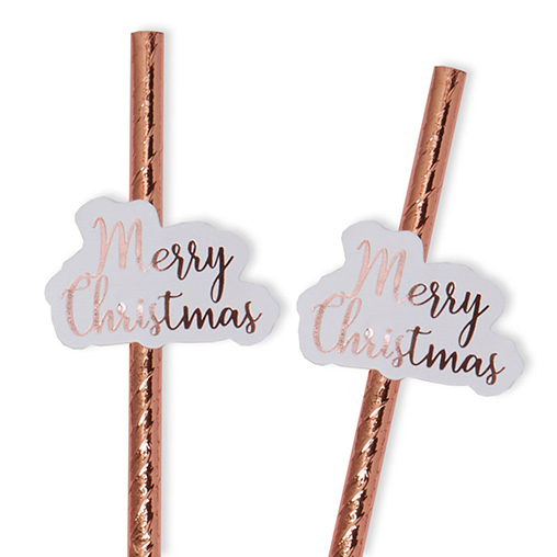 Merry Christmas Rose Gold Paper Straws