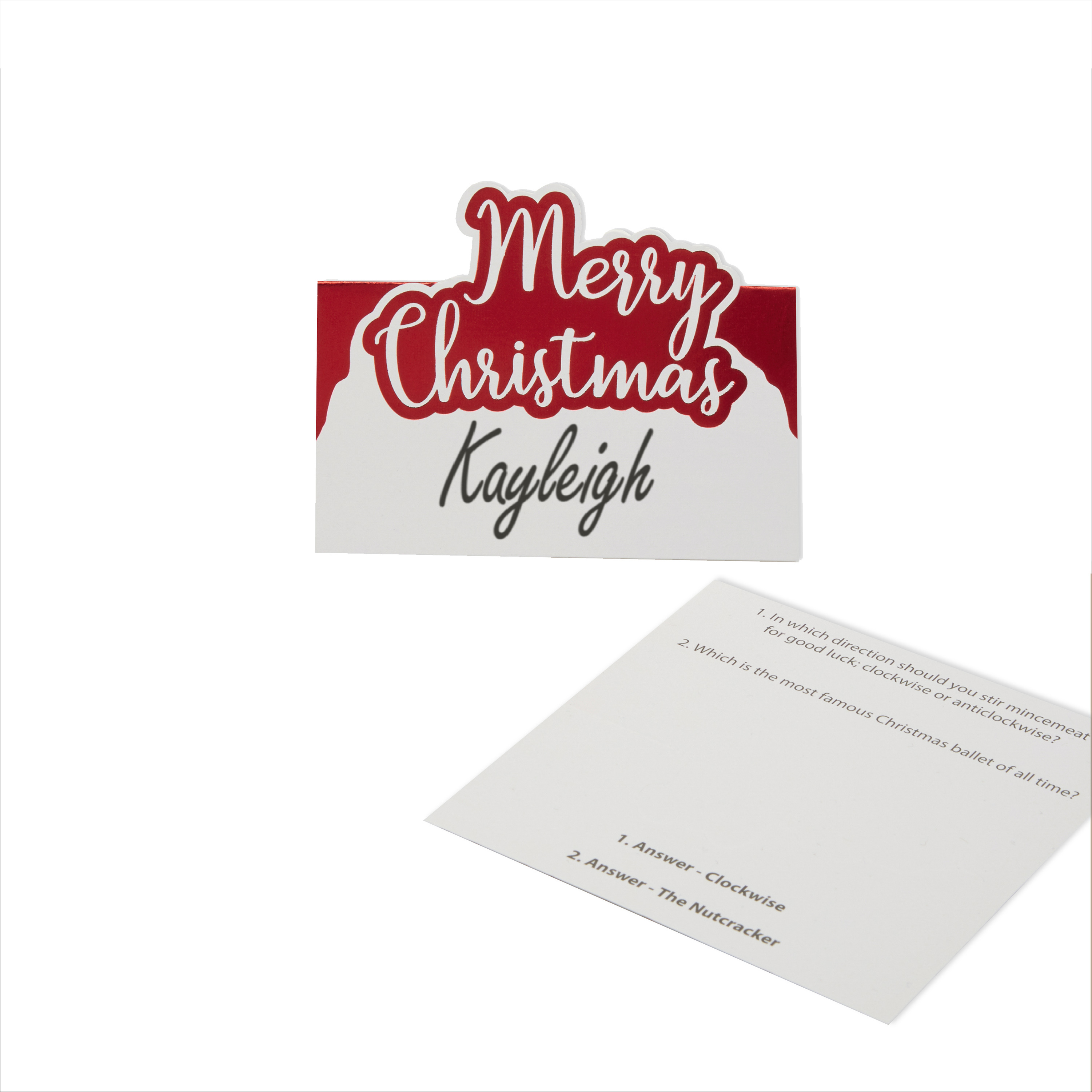Merry Christmas - Trivia Place Cards - Red Foil