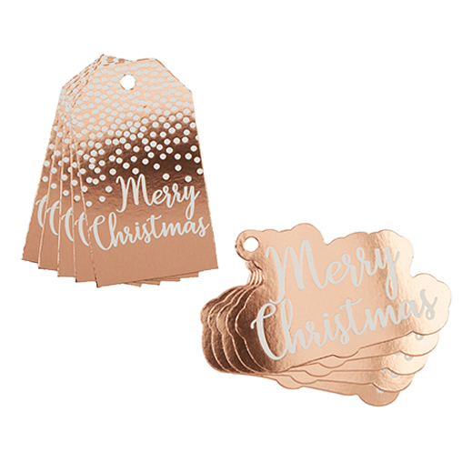 Merry Christmas Gift Tag & Trim Pack - Rose Gold Foil