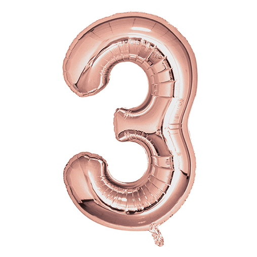 "Rose Gold Foil Balloons 810mm (32"") Number 3"