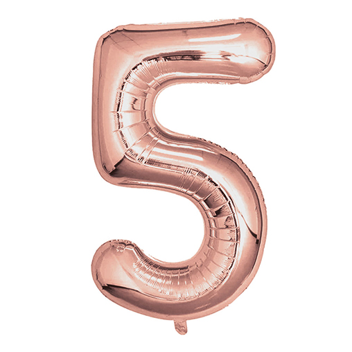 "Rose Gold Foil Balloons 810mm (32"") Number 5"