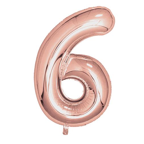 "Rose Gold Foil Balloons 810mm (32"") Number 6"