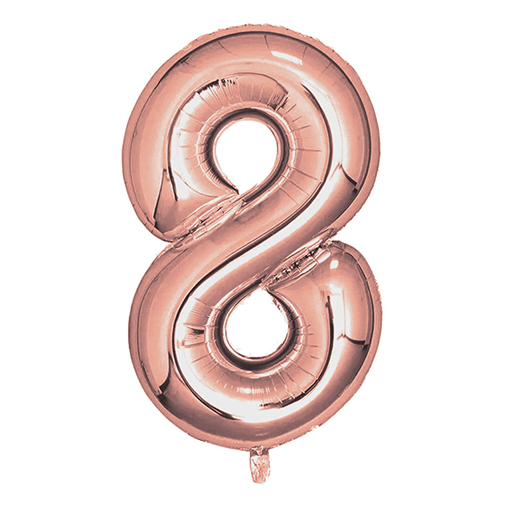 "Rose Gold Foil Balloons 810mm (32"") Number 8"