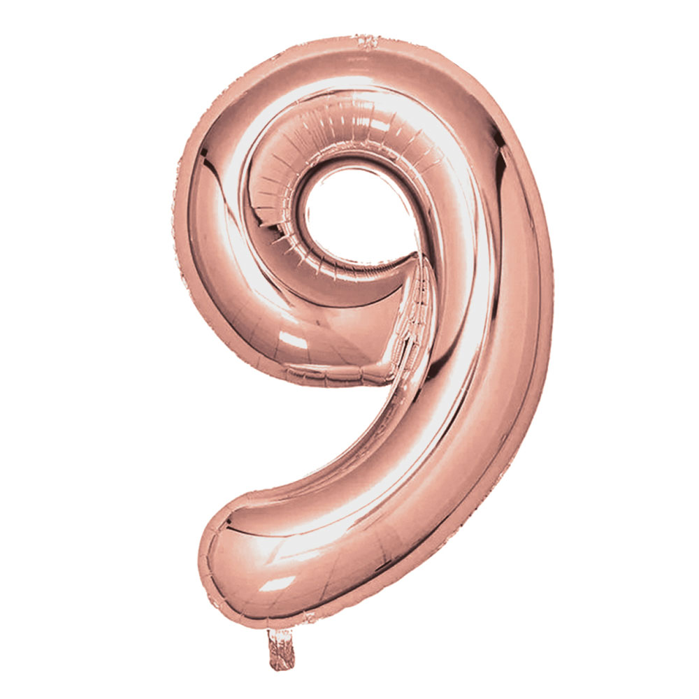 "Rose Gold Foil Balloons 810mm (32"") Number 9"