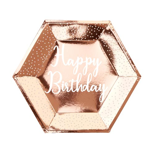 Rose Gold Birthday  - Happy Birthday - Plate - Large