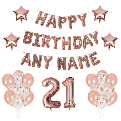 21 Balloons - Happy Birthday Kit - Rose Gold Any Name
