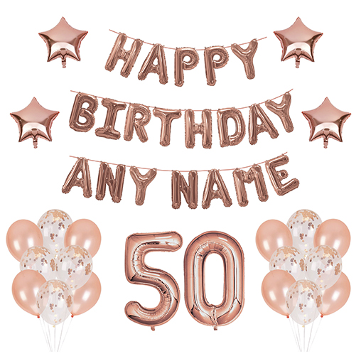 50 Balloons - Happy Birthday Kit - Rose Gold Any Name