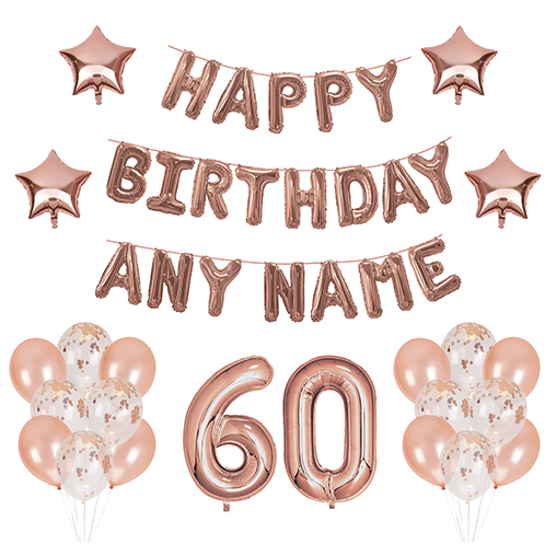 60 Balloons - Happy Birthday Kit - Rose Gold Any Name