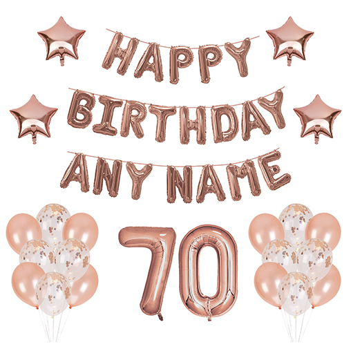 70 Balloons - Happy Birthday Kit - Rose Gold Any Name