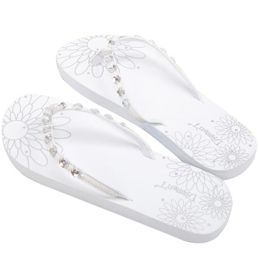 Diamon-T Flip Flops White Medium